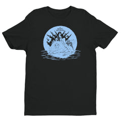 Moon Destroys Short Sleeve T-shirt (Blue on Black)