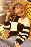 Checkerboard Striped Pullover Sweater