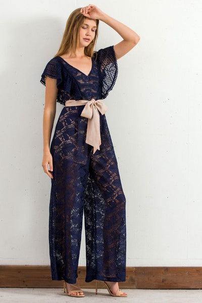 champagne and strawberry Lace Navy Jumpsuit