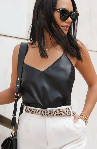 leather vegan top