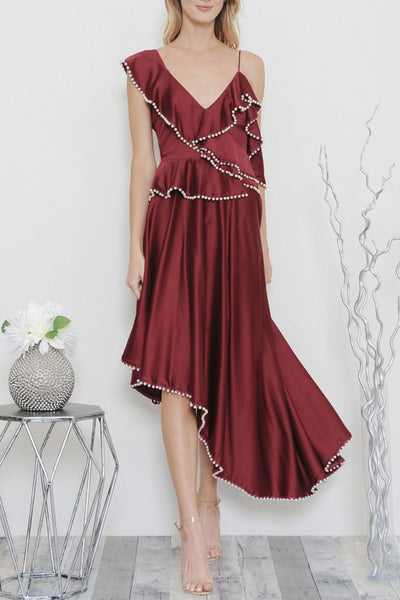 Pearls and Wine Asymmetrical Dress