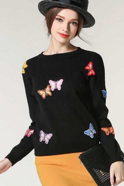 Butterfly patches black sweater