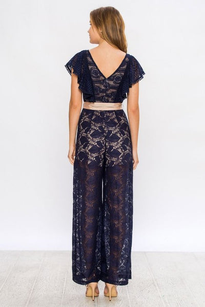db883962a72 Champagne   Strawberry Navy Lace Jumpsuit – Trèscool