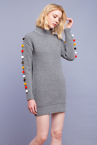 English Factory Pom Pom Sweater Dress