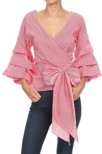 Red gingham ruffled balloon sleeve wrap blouse