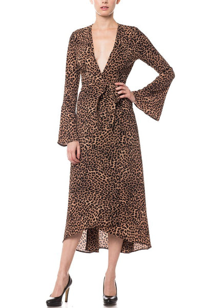 Olivaceous Cheetah Wrap Midi Dress