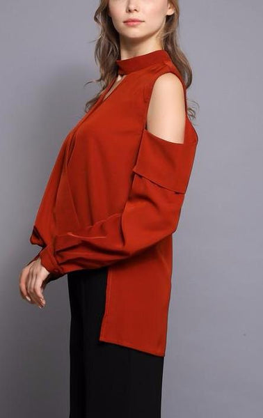 red open shoulder blouse