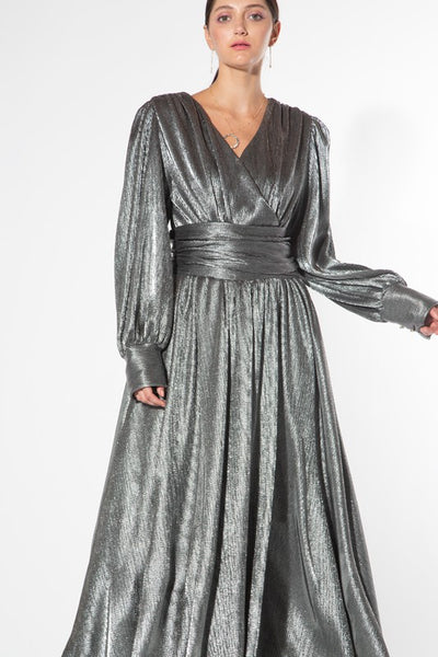 metallic silver maxi dress