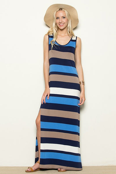 Beach Blue Stripe Maxi Dress