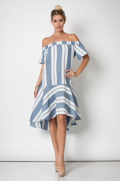 Off Shoulder Stripe Midi Dress