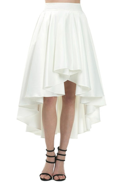 Exotic White Hi-Low Midi Skirt