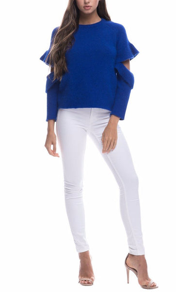 Endless Rose Cutout Blue Sleeve Sweater