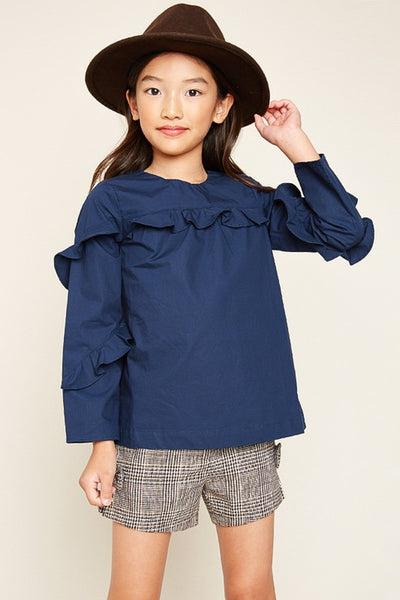 Girls Ruffled Navy Top