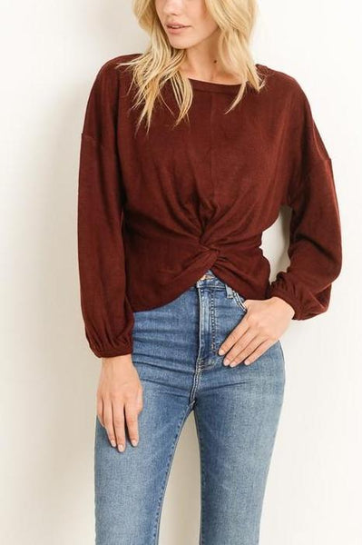 Burgundy Twist Waist Top