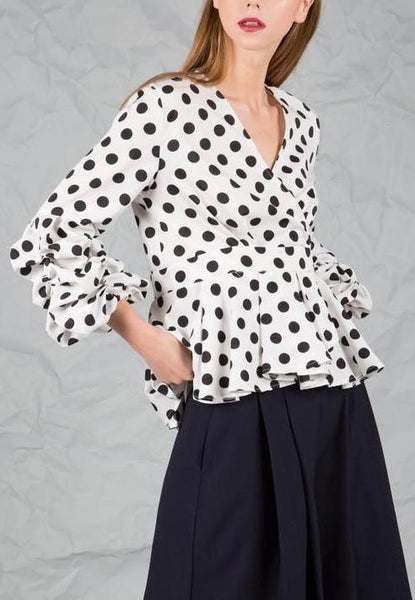 White Polka Dot Peplum Top