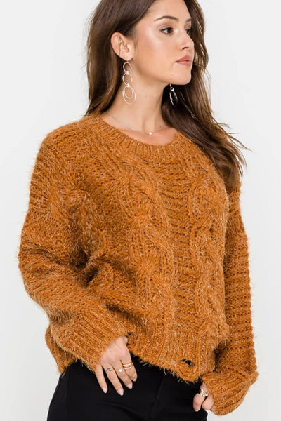 Lush Clothing Cable Knit Distressed Sweater