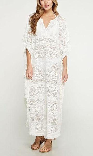 white lace caftan