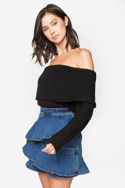 sugarlips off the shoulder sweater