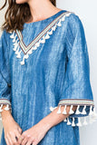 Eclectic Babe Denim Tassel Dress