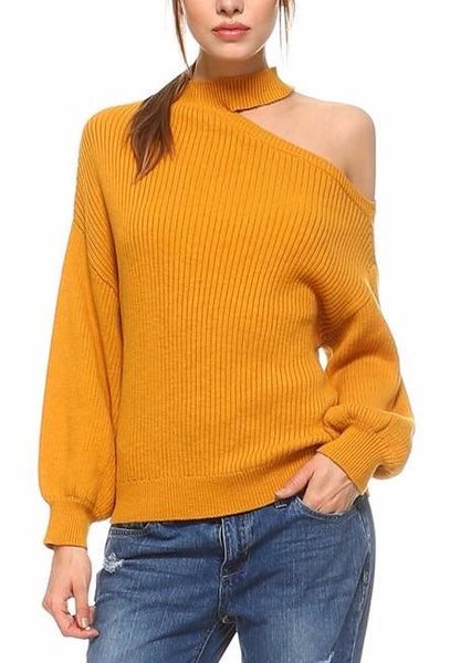 choker one shoulder knit sweater top
