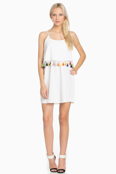 Colored Tassels White Dress