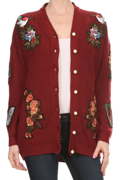Wine Cardigan with Butterfly, Tiger, Floral Patches