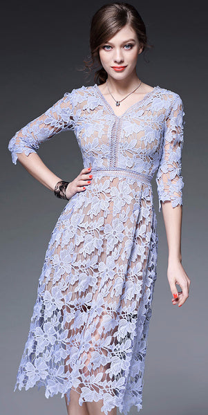 Ariana Blue Lace Midi Dress