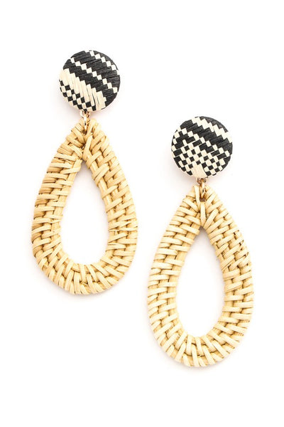 Tear Drop Straw Braided Earrings