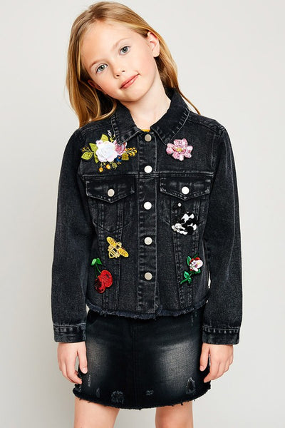 girls patched denim jacket
