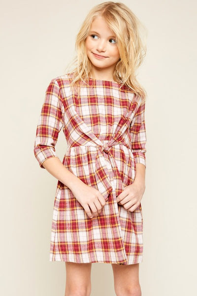 Girls Flannel Front Tie Dress