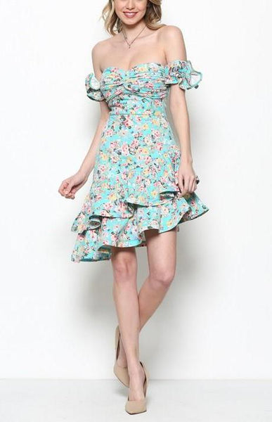 Mint Floral Ruffle Dress
