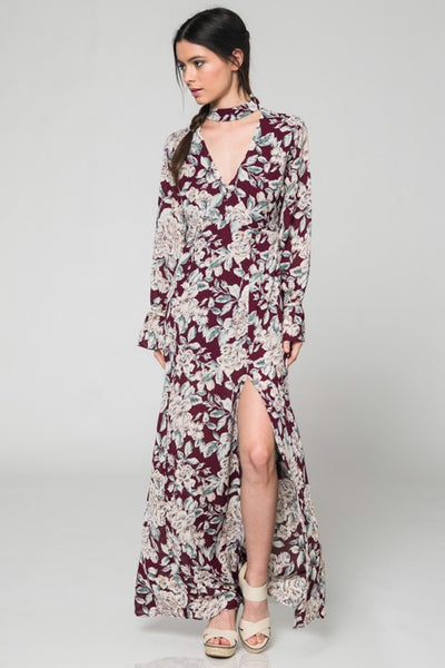 Napa Maxi Floral Choker Burgundy Honey Punch Dress