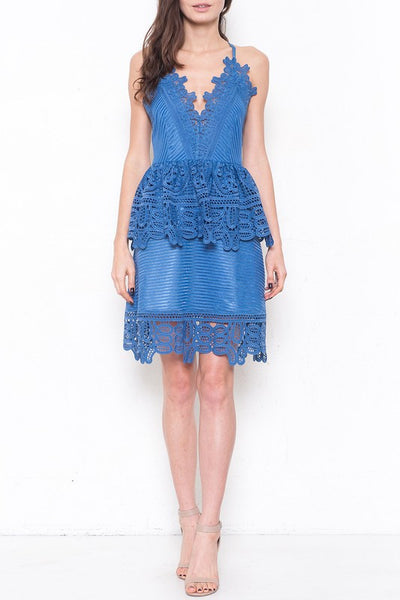 Bella Blue Lace Peplum Dress