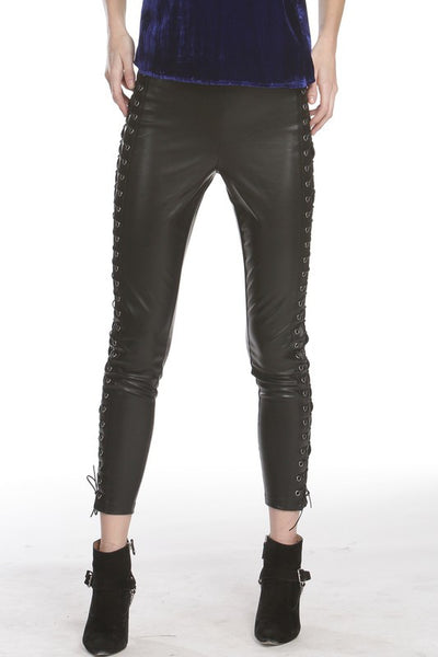 Black Leather Moto Leggings with Adjustable Tie Up Detail