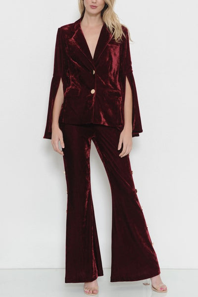 Two piece burgundy velvet suit