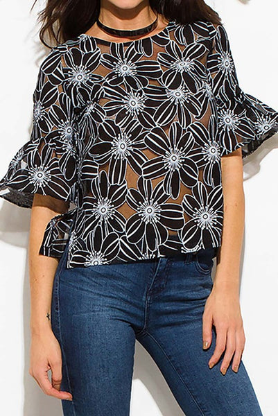 Black and White Floral Sheer Blouse