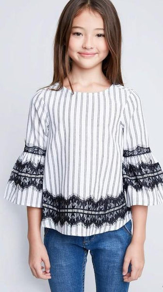 Girls Striped Lace Top