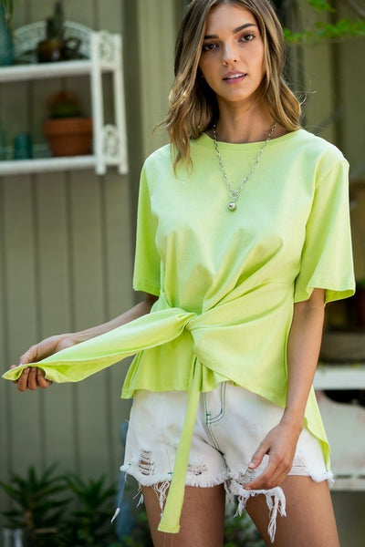 Neon Green Front Tie Top