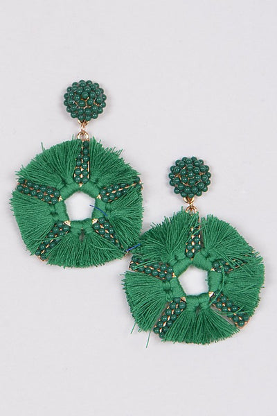 Circle Drop Green Tassel Earrings