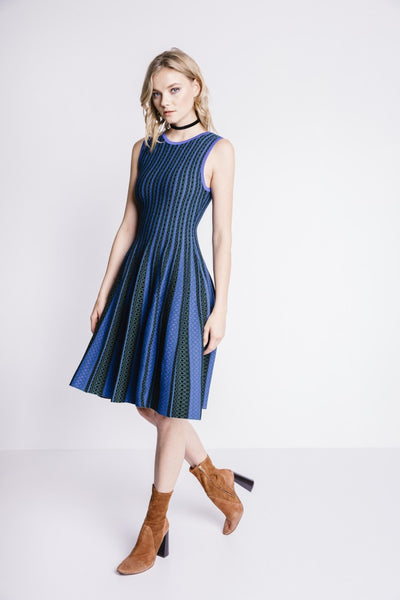 Endless Rose Vertical Stripe Teal Knit Dress