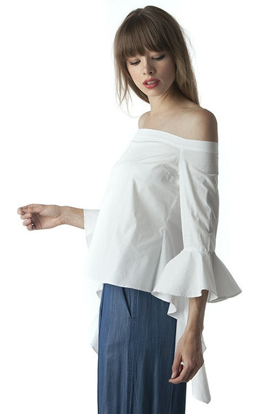 White Cascade Sleeve Blouse