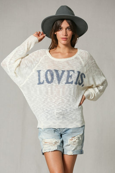Love Is Print Knit Sweater