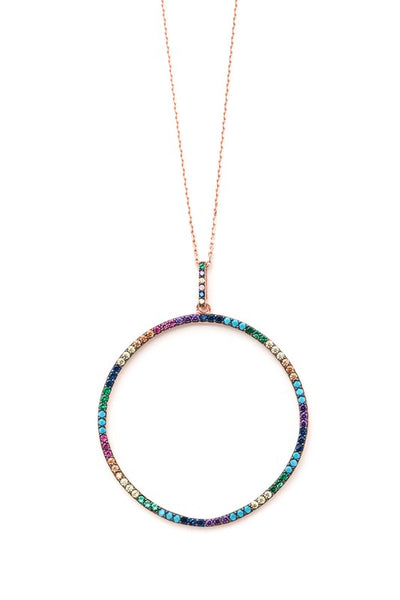 Sterling Studded Hoop Necklace