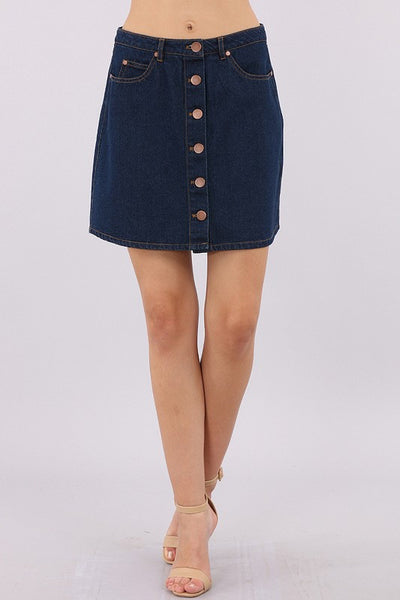 Center Button Denim Skirt