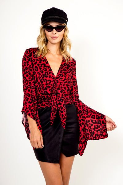 Olivaceous red leopard top