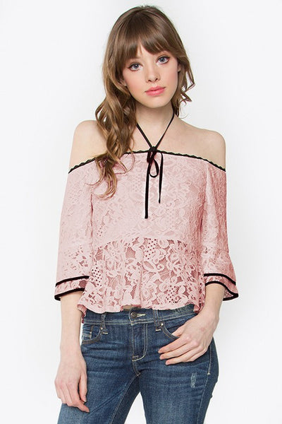 Pink Lace Halter Top