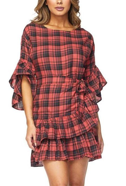 Checkers Wrap Dress
