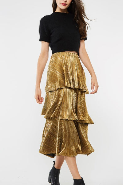 Metallic Gold Tiered Midi Skirt