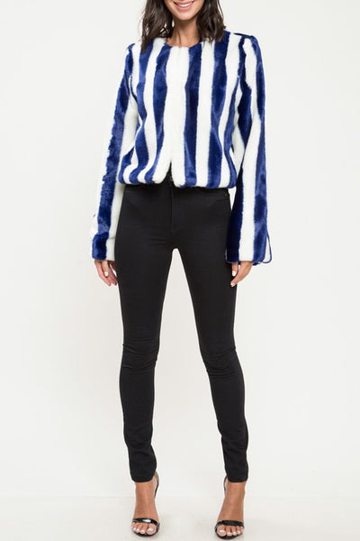 Blue Stripe Faux Fur Jacket