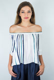 ASTR Savannah Off-The-Shoulder Top Stripes